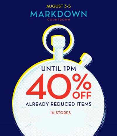 markdown, reduced items