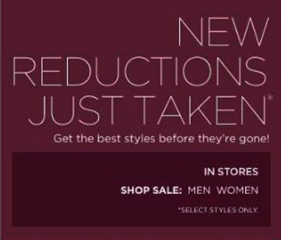new reductions, best styles, sale, men, women, polos, tees, tops. blouse