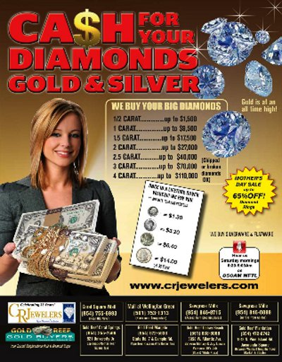 cash, diamonds, gold, silver