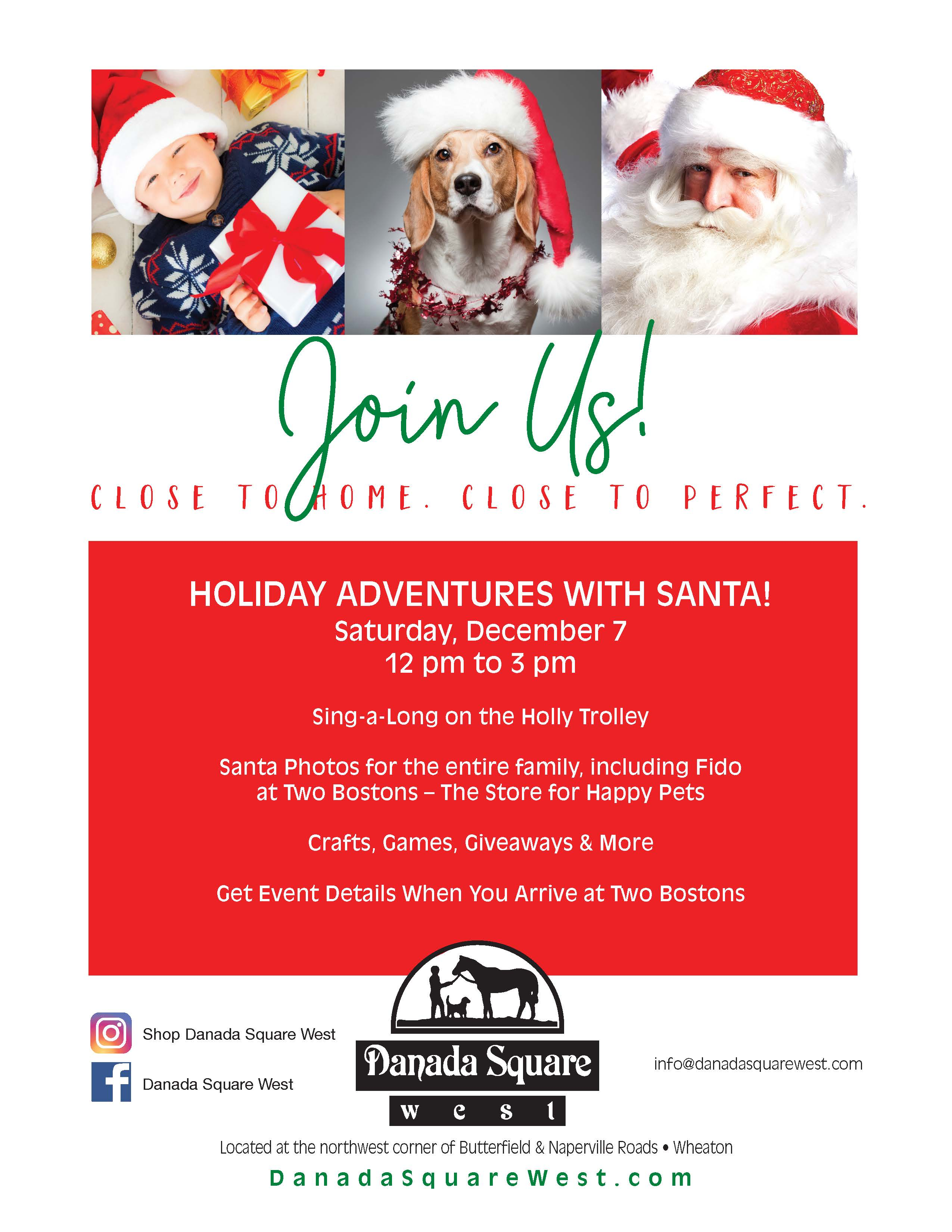 Holiday Adventures with Santa on Saturday December 7 from 12-3PM. Sing-a-long, photos, crafts, ganes abd nire