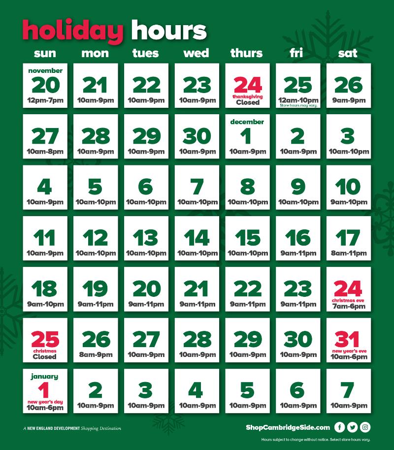 CambridgeSide ::: Mall Holiday Hours