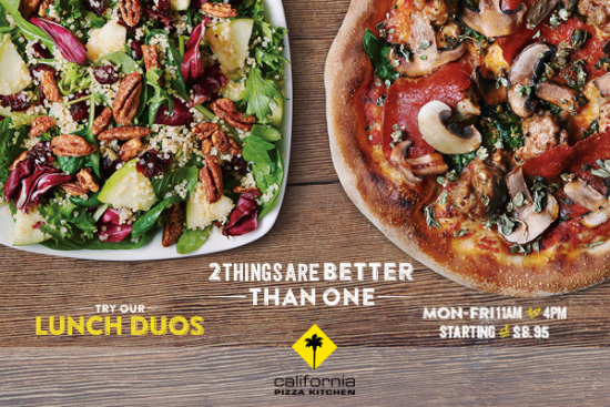 CambridgeSide ::: Try California Pizza Kitchen\'s Lunch Dous