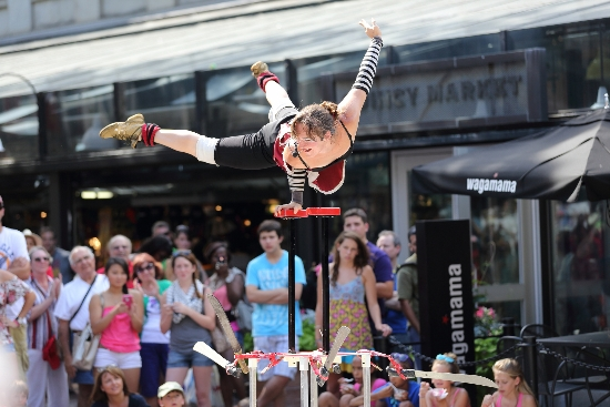 Faneuil Hall Marketplace street theater entertainment in Boston.