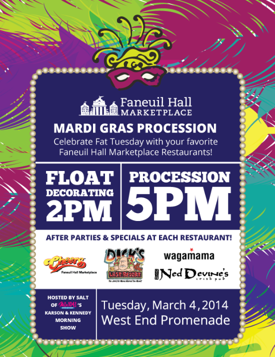 Free Things To Do: Mardi Gras Procession at Restaurants in Faneuil Hall Marketplace