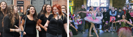 Singers & dancers performing at Faneuil Hall Marketplace.