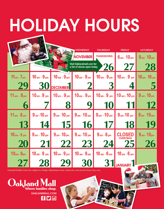 Oakland Mall Holiday Hours 2015