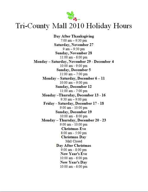 Tri-County Mall Holiday Hours