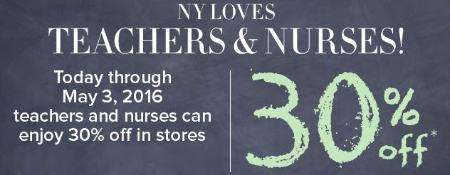 Teachers & Nurses Can Enjoy 30% Off in Stores