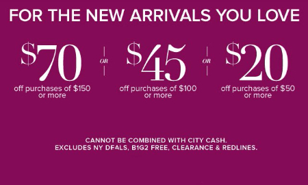 $70 Off Purchases of $150 or More