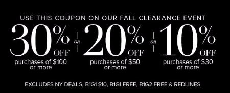 30% Off Purchases of $100 or More
