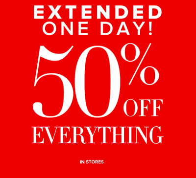 50% off sale extended today at New York & Company