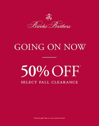 50% Off Select Fall Clearance