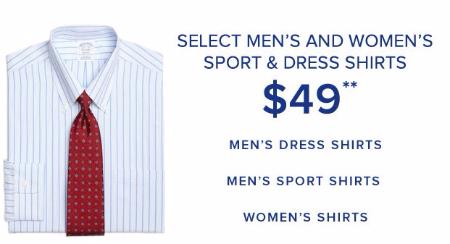 $49 Select Men's & Women's Sport & Dress Shirts