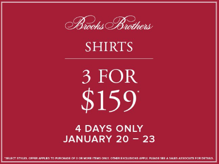 Shirts 3 for $159