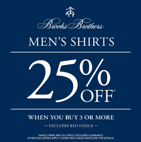 Men's Shirts 25% Off When You Buy 3 or More at Brooks Brothers