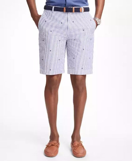 Palm Tree Embroidered Seersucker Bermuda Shorts