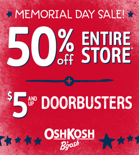 Memorial Day Sale! 50% Off Entire Store + $5 And Up Doorbusters