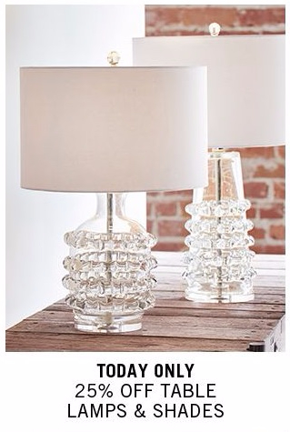 25% Off Table Lamps & Shades