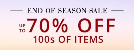 End of Season Sale up to 70% Off