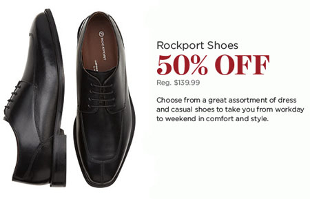 50% Off Rockport Shoes at Men's Wearhouse