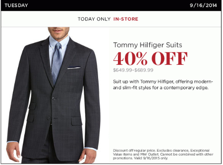 40% Off Tommy Hilfiger Suits at Men's Wearhouse