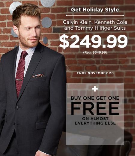 $249.99 Designer Suits + BOGO Free Almost Everything Else at Men's Warehouse & Tux