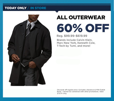 Take 60% Off All Outerwear! at Men's Wearhouse
