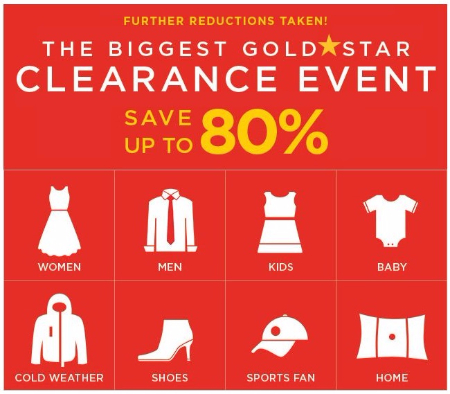 The Biggest Gold★Star Clearance Event up to 80% Off