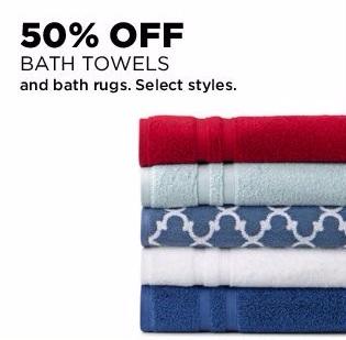 50% Off Bath Towels & Bath Rugs