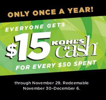 Get $15 Kohl's Cash