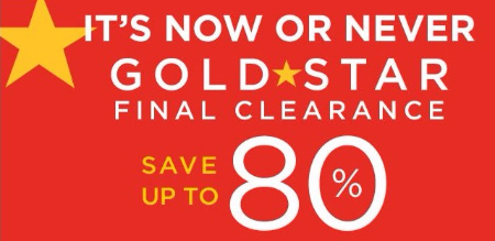 Gold Star Final Clearance up to 80% Off
