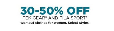 30–50% Off Tek Gear and FILA Sport Workout Clothes