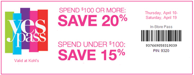 Save 20% Spend $100 or more at Kohl's