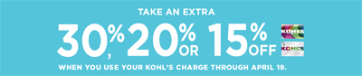 30%, 20% or 15% Off at Kohl's