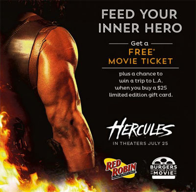 Earn a Free Movie Ticket at Red Robin
