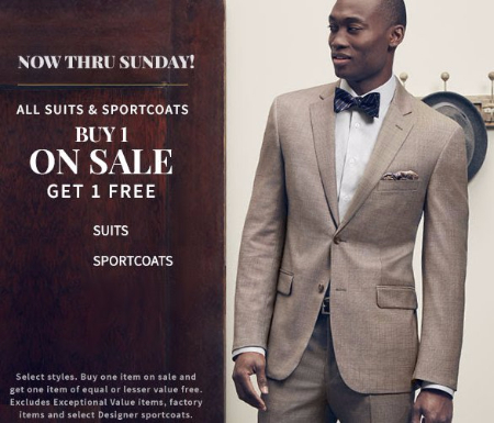 All Suits & Sportcoats Buy 1 on Sale, Get 1 Free