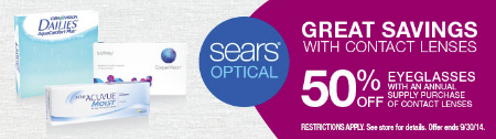 50% OFF Eyeglasses when you buy a year supply of contacts!