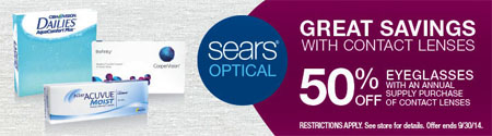 50% Off Eyeglasses at Sears Optical