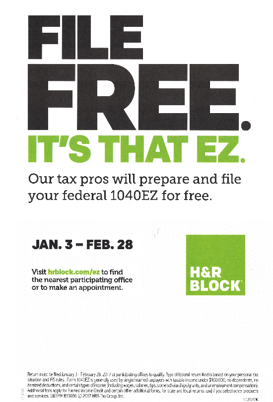 Free 2016 federal 1040EZ when filed between Jan 3, 2017– Feb 28, 2017