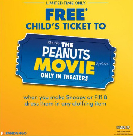 Free Child's Ticket to the Peanuts Movie