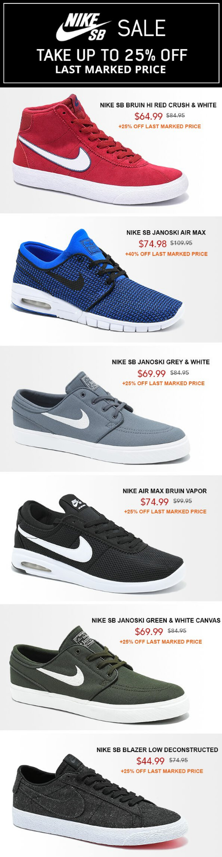 various colors b68e9 e44fa ... black white 7964c 7f676 closeout zumiez nike sb sale up to 25 off last  marked price 1b63f c6813