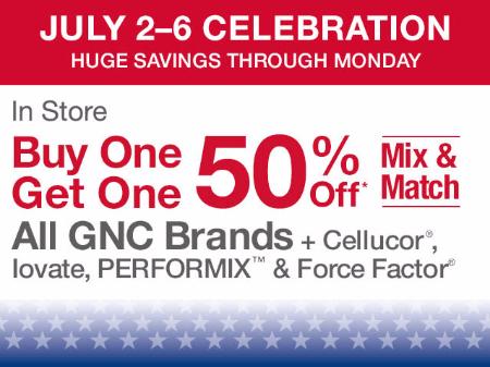 BOGO 50% Off July 4th Sale at General Nutrition Center - GNC
