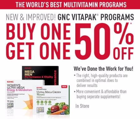 BOGO 50% Off Vitapak Programs at GNC
