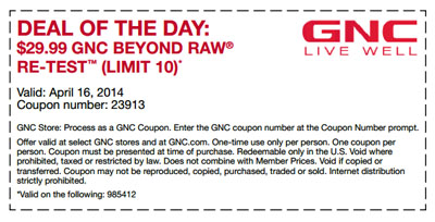 Deal of the Day at GNC Live Well