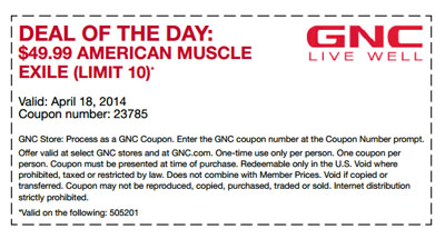 Deal of the Day at General Nutrition Center