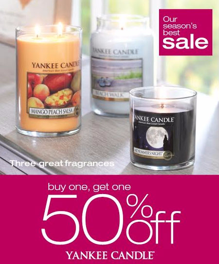 Buy One, Get One 50% Off at Yankee Candle