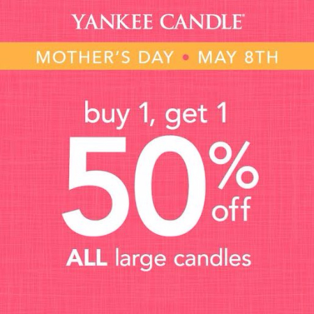 ALL Large Candles Buy One, Get One 50% Off