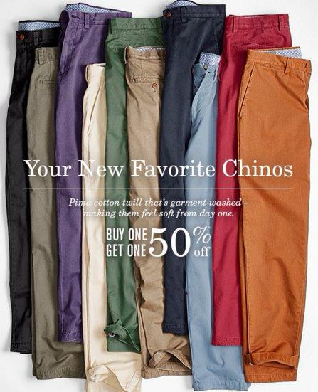 Chinos BOGO 50% Off