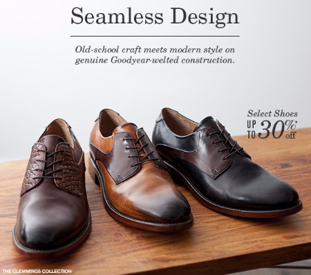 Select Shoes up to 30% Off