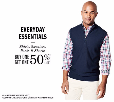 BOGO 50% Off Shirts, Sweaters, Pants & Shorts
